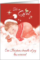 Announcement, Baby Girl, Born at Christmas Time - Baby on Clouds card