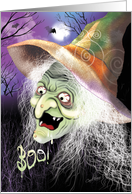 Halloween, Boo, Wart Face, Witch - Colorful Scary Face of Ugly Witch card