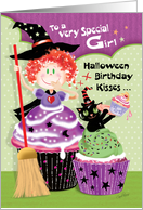 Halloween, Birthday, Girl, - Cupcake Witch with Cupcake Cat and Cake card