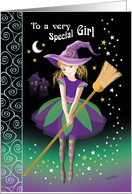 Halloween, Tween, Witch - Pretty Girl in Decorative Costume card