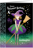 Halloween Birthday Goddaughter - Pretty Tween Witch with Broom card