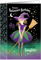 Halloween Birthday Daughter - Pretty Tween Witch with Broom card