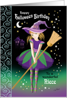 Halloween Birthday Niece - Pretty Tween Witch with Broom card