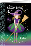 Halloween Birthday Sister - Pretty Tween Witch with Broom card