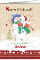 Christmas for Godson - Cute Snow Boy Hugging his Snow Puppy card