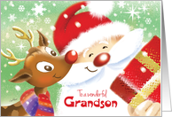 Grandson, Christmas- Cute Reindeer & Santa with Present card