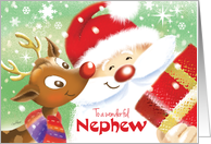 Nephew, Christmas- Cute Reindeer & Santa with Present card