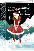 Granddaughter, Christmas-Tween Girl Skating in Magical Snow Scene card