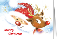 Merry Christmas - Cute Reindeer & Santa Smiling at Each Other card