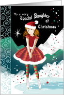 Daughter, Christmas-Young Girl on Skates in Magical Snow Scene card