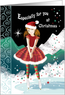 Young Girl on Skates in Magical Snow Scene at Christmas card