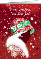 Christmas, Granddaughter - Girl in Trendy Red Hat card