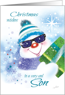 Christmas, Son - Cool Snowman in Sunglasses with Present card