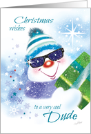 Christmas, Dude - Cool Snowman in Sunglasses with Present card