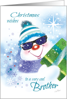 Christmas, Brother - Cool Snowman in Sunglasses with Present card