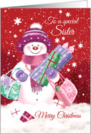 Christmas, Sister - Cute Snow Women Shopping with Presents card