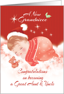 Grandniece, Congratulations, Great Aunt & Uncle-Baby Asleep on Cloud card