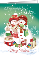 Lesbian, Christmas, for Wife-2 Snow Women Shopping in the City card