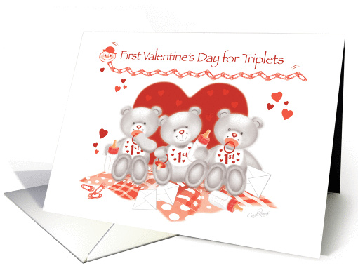 1st Valentine's Day, Triplets-3 Cute Teddies sit in front... (1351996)