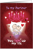 Gay Valentine for Life Partner - Cartoon Male Couple in Bed card