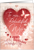 Birthday, Valentine's Day, Wife - Large Red Heart, Flowers & Words card