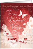 Birthday, Valentine's Day, Boyfriend-Large Red Heart, Flowers & Words card
