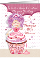 Valentine's Day, Birthday, Grandma - Princess Cupcake Kisses card