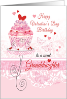 Granddaughter, Valentine's Day, Birthday - Cupcake on Stand card
