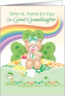 1st St. Patrick's Day, Great Granddaughter -Teddy Sitting by Shamrock card