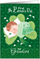 First St.Patrick's Day, Grandson-Baby Asleep on Shamrock card