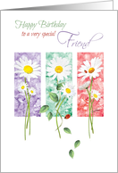 Birthday, Friend, 3 Long Stem Daisies On Color Panels with Ladybirds card