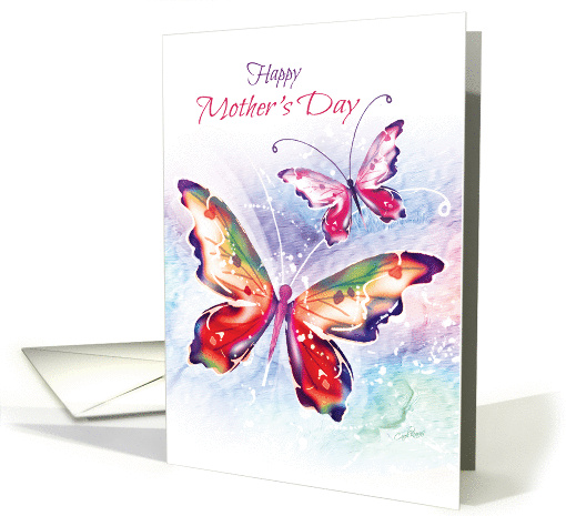 Mother's Day, 2 Colourful Butterflies on a Water-color... (1373186)