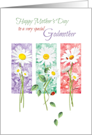 Mother's Day, Godmother - 3 Long Stem Daisies card