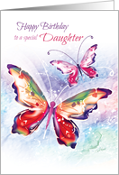 Birthday, Daughter - 2 Colorful Butterflies on Soft Water-color card