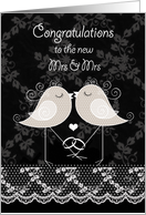 Lesbian Wedding Congratulations, Decorative Birds kissing card