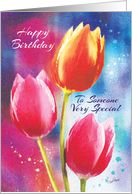 Birthday, Someone Special - 3 Vibrant Tulips on Water-Color Background card