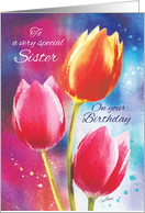 Birthday, Sister- 3 Vibrant Tulips on Water-Color Background card