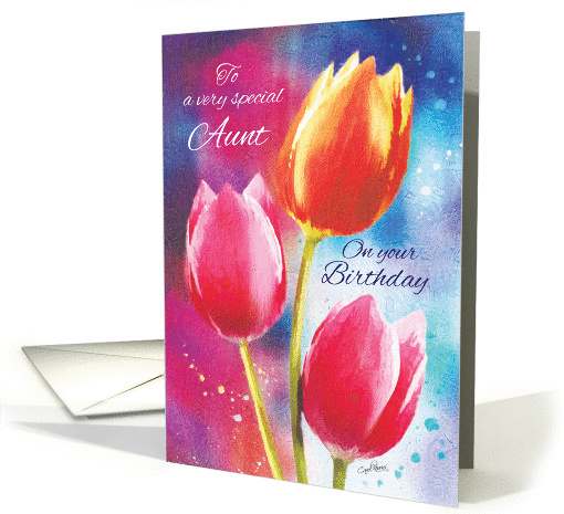 Birthday, Aunt, 3 Vibrant Tulips on Water-Color Background card