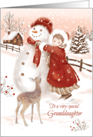 Christmas, Granddaughter, Deer Watches Girl Make Snowman, Vintage card