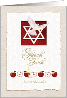 Shanah Tovah, Across the Miles, Star of David, Dove & Apples card