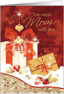 Christmas, Mom, Stylish, Presents, Ornaments and Heart card