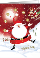 Christmas, Juggling, Jingle Bells. Santa Juggling Sleigh Bells card