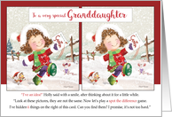 Christmas, Granddaughter. Holly Says, Spot the difference! Activity card