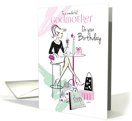 Birthday, Godmother, Shop 'til you Drop, Relax and Unwind card