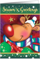 Season's Greetings. Cute Deer with Huge Red Nose holding a Gift card