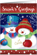 Season's Greetings, Two Caroling Snowmen with Song Book card