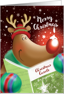 Merry Christmas, Cute Deer with Snowdrop on Nose card