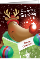Merry Christmas, Grandson, Cute Deer with Snowdrop on Nose card