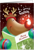 Merry Christmas, Godson, Cute Deer with Snowdrop on Nose card