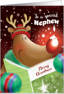 Merry Christmas, Nephew, Cute Deer with Snowdrop on Nose card